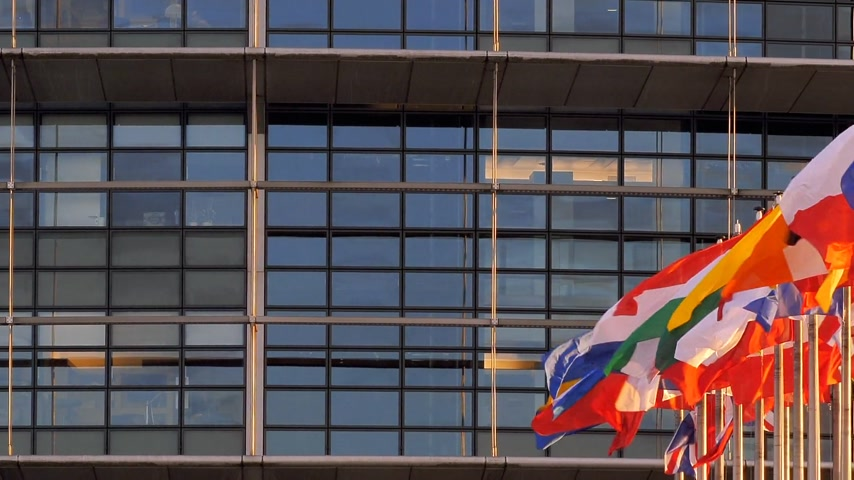 direitos : STRASBOURG, FRANCE - CIRCA 2018: Time-lapse fastmotion of European Parliament headquarter facade building with flags of all member states waving - pan left to right