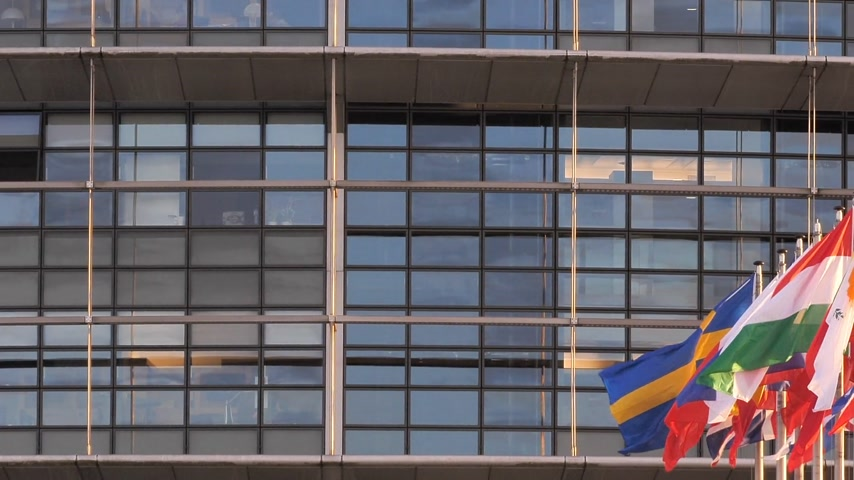 all european flags : STRASBOURG, FRANCE - CIRCA 2018: European Parliament headquarter facade building with flags of all member states waving - pan left to right newsworthy cinematic footage Stock Footage