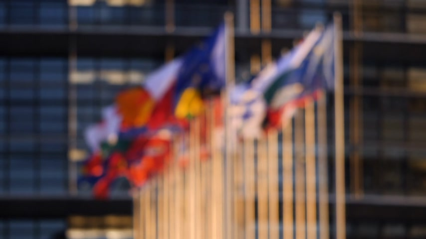 helyettes : Defocused cinematic slow motion over all flags of European Union member states on a warm sunny day in front of European parliament news