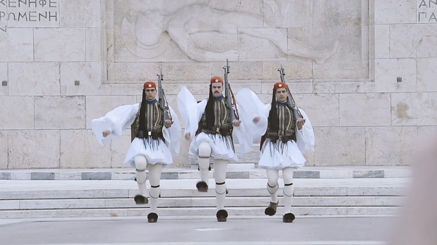 documentary : ATHENS, GREECE- CIRCA 2018: Honor Evzones guard in front of  the Tomb of the Unknown Soldier at the Parliament Building in Syntagma Square, Athens, Greece documentary newsworthy footage Stock Footage