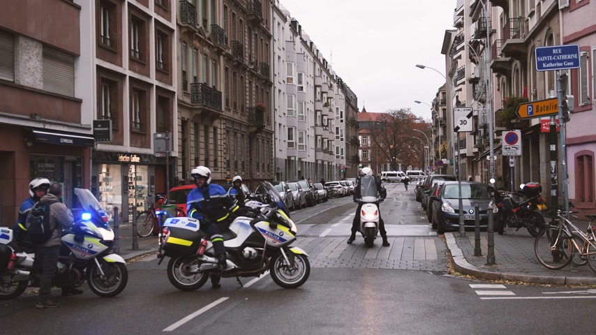 протест : STRASBOURG, FRANCE - DEC 8, 2018: Rear view of police officers securing the zone in front of the Yellow vests movement protesters French street