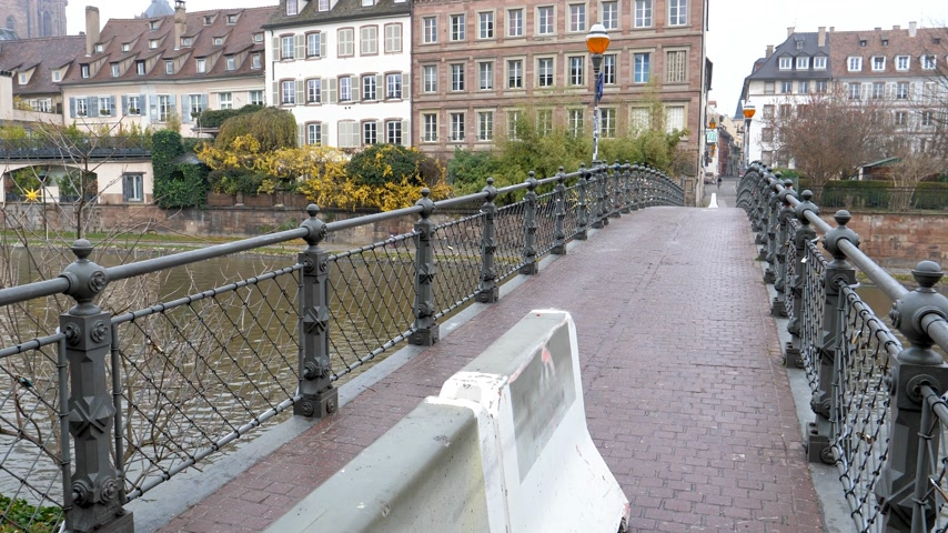 anti terrorism : STRASBOURG, FRANCE - DEC 11, 2018: Secured pedestrian bridge after the terrorist attack in the Strasbourg Christmas market area Stock Footage