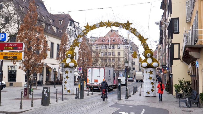 anti terrorism : STRASBOURG, FRANCE - DEC 11, 2018: Almost empty city in the morning after the terrorist attack in the Strasbourg Christmas market area Stock Footage
