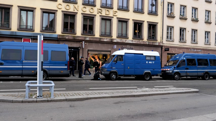 anti terrorism : STRASBOURG, FRANCE - DEC 11, 2018: Row of French Police vans in Place Gutenberg early in the morning after the terrorist attack in the Strasbourg Christmas market area