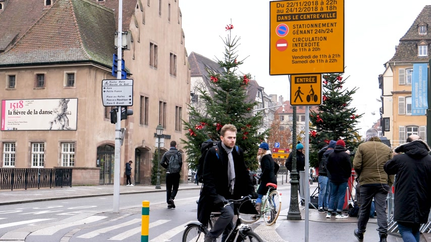 anti terrorism : STRASBOURG, FRANCE - DEC 11, 2018: Security entrance to the city center with control after the terrorist attack in the Strasbourg Christmas market area