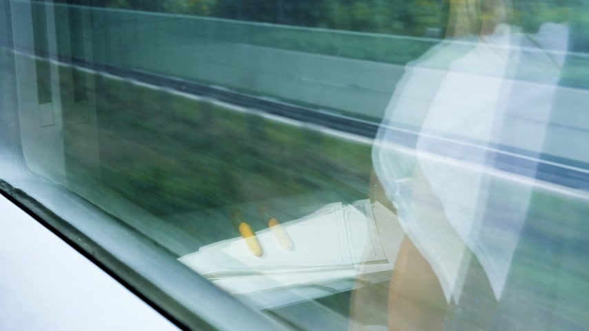 first class : Rear view of woman silhouette reflection travel in fast German train with window view of German landscape with highway passing nearby - reflection of her papers and pencil in the window Stock Footage