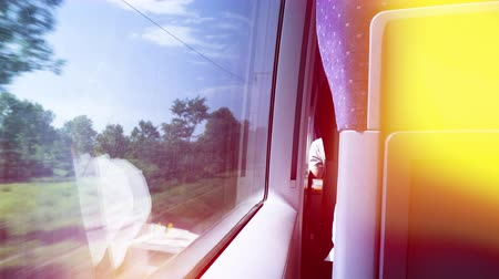 first class : Rear view of woman silhouette reflection working on her paper in first class travel in fast German train with window view of German landscape with highway passing nearby yellow flare Stock Footage