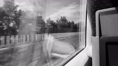 first class : Rear view of woman silhouette travel in fast German train with window view of German landscape black and white monochrome footage 4k UHD Stock Footage