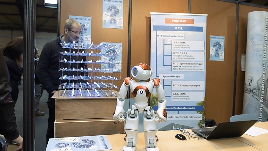 subject : STRASBOURG, FRANCE - CIRCA 2018: Robot motion making diverse karate martial arts gestures at technical IT college stand during Education Fair