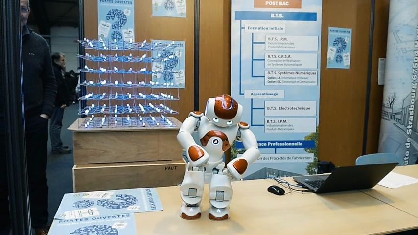 choosing path : STRASBOURG, FRANCE - CIRCA 2018: Robot motion making diverse karate martial arts gestures at technical IT college stand during Education Fair