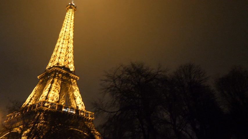 ave : PARIS, FRANCE - JAN 2019: Woman on tourist bus admiring the night twilight illuminated majestic Eiffel Tower down to top view in Paris - the most visited monument in France Stock Footage