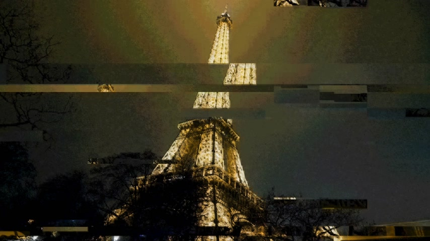 ave : PARIS, FRANCE - JAN 2019: Distorted digital effect bad signal FX CGI over illuminated majestic Eiffel Tower wide view in Paris
