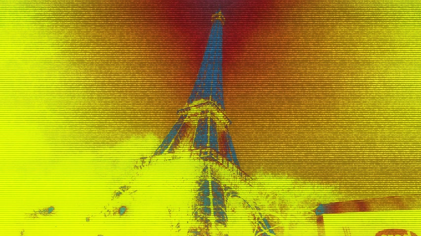 ave : Distorted digital Fx over majestic Eiffel Tower down to top view in Paris France