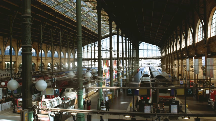 parisian : PARIS, FRANCE - CIRCA 2019: Busy morning on the 1 11 12 13 platform at Gare de Nord train station in central Paris, with trains waiting and passengers commuters walking - large aerial hall view Stock Footage
