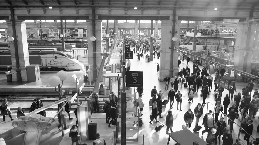 parisli : PARIS, FRANCE - CIRCA 2019: Black and white busy morning on the platform 3 at Gare de Nord train station in central Paris, with trains Eurostar from London arrival to Paris