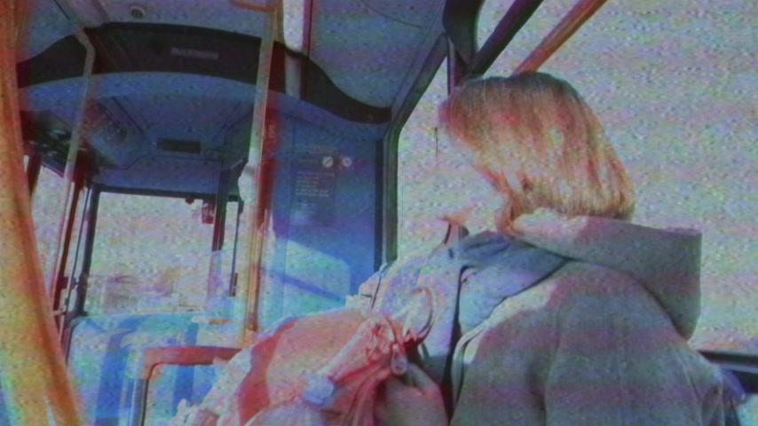 inside bus : young female student inside driving double decker bus in Oxford, United Kingdom Stock Footage