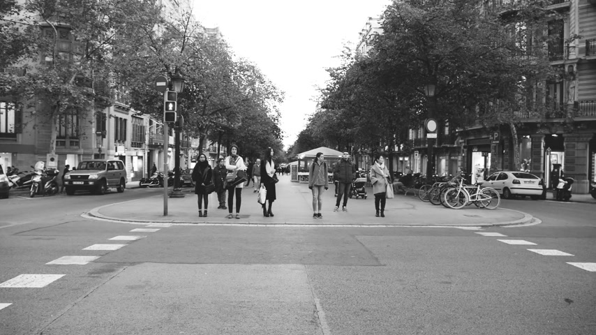 spanish style : BARCELONA, SPAIN - CIRCA 2019: Slow motion Barcelona street with pedestrians waiting to cross the busy intersection - evening scene of the Spanish city