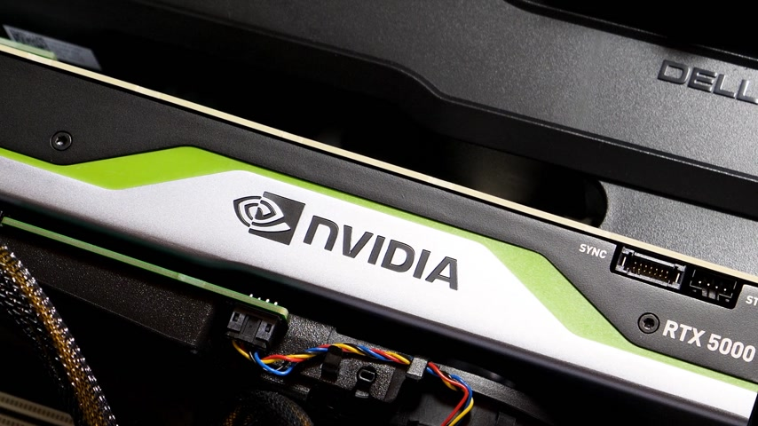 quadro : Paris, France - Feb 20, 2019: Panning over latest Nvidia Quadro RTX 5000 workstation professional video card GPU for professional CAD CGI scientific machine learning in Dell Precision T7910 workstation