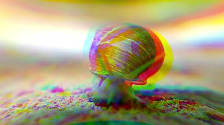 caracol : RGB color displacement of Helix pomatia Roman snail known as Burgundy snail slow motion with multiple tentacles toward camera - it is an edible snail escargot mollusk from the family Helicidae