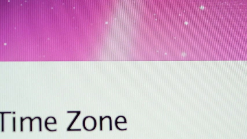 wi fi : CALIFORNIA, UNITED STATES - CIRCA 2014: Apple Computers new desktop computer iMac with display showing setting time zone to New York USA