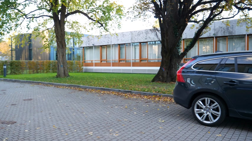 kompakt : Karlsruhe, Germany - Oct 29, 2017: Panning scene new Volvo electric car parked in front of Federal Constitutional Court Bundesverfassungsgericht