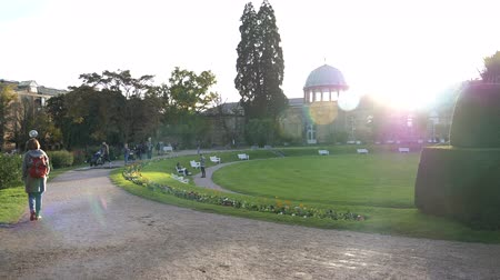avlu : Karlsruhe, Germany - Circa 2018: Cinematic sunlight flare over Orangerie building of Botanischer Garten Karlsruhe baroque building and people enjoying fall sun at sunset sightseeing discovery of Baden city