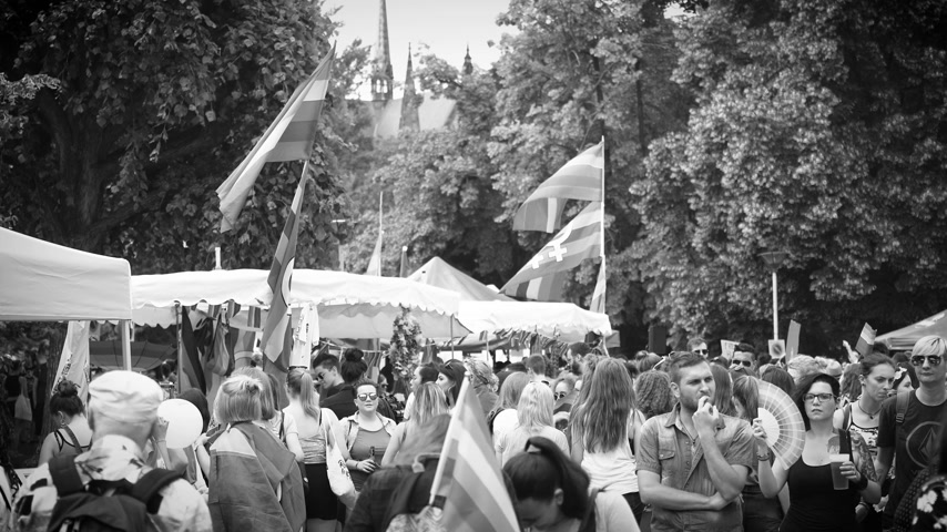 годовой : STRASBOURG, FRANCE - CIRCA 2018: Black and white footage of large crowd of people waving rainbow flags at annual FestiGays pride gays and lesbians parade marching French streets dancing fun party atmosphere