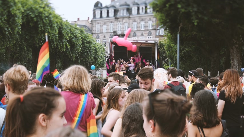 seksualiteit : STRASBOURG, FRANCE - CIRCA 2018: Newsworthy footage of large crowd of people celebrating dancing near gay truck with gay and lesbians queers at annual FestiGays pride Stockvideo
