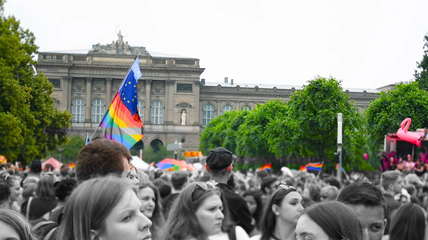 hoşgörü : STRASBOURG, FRANCE - CIRCA 2018: Color glitch Large crowd of people waving rainbow LGBT, Eu and NATO flags at annual FestiGays pride parade marching in front University dancing fun party atmosphere Stok Video