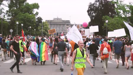 sexualita : STRASBOURG, FRANCE - CIRCA 2018: Large crowd of people waving rainbow flags at annual FestiGays pride gays and lesbians parade marching on Avenue de la Liberte Freedom Avenue toward Strasbourg University Dostupné videozáznamy