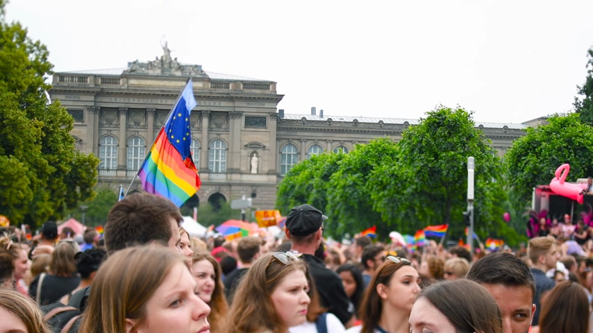 годовой : STRASBOURG, FRANCE - CIRCA 2018: Large crowd of people waving rainbow LGBT, Eu and NATO flags at annual FestiGays pride parade marching in front University dancing fun party atmosphere