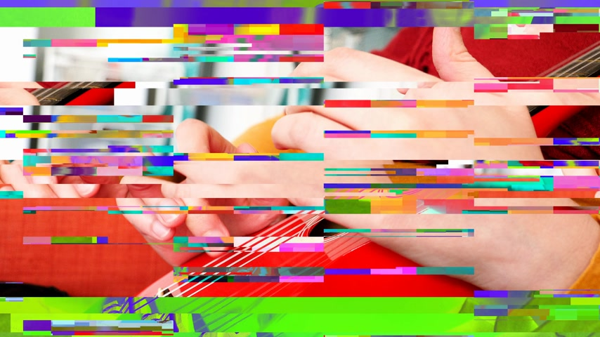 acoustic : Digital glitch effect over close-up of elegant female hands wearing red dress playing red small mandolin guitar