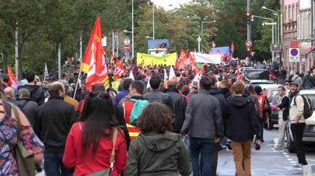 nationwide protest : Strasbourg, France - Sep 12, 2017: Thousands of people at political march during a French Nationwide day of protest against the labor reform proposed by Emmanuel Macron Government