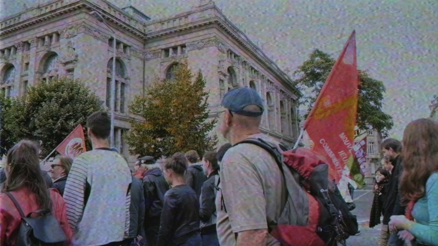 nationwide protest : Strasbourg, France - Sep 12, 2017: VHS vintage tape film effect at political march during a French Nationwide day of protest against the labor reform proposed by Emmanuel Macron Government