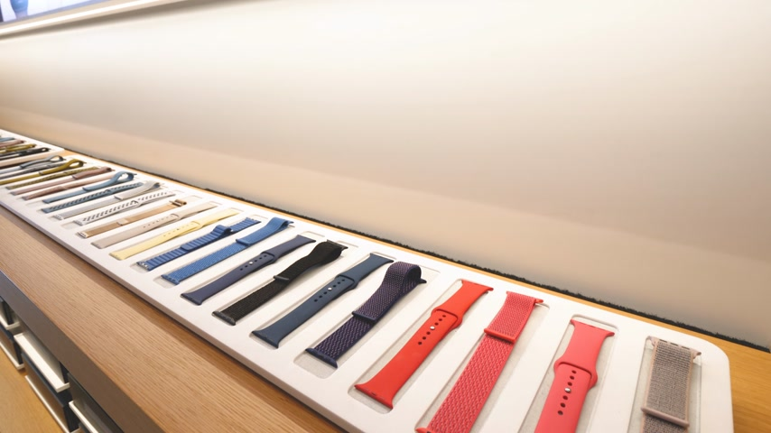 apple computers : Paris, France - Circa 2019: Apple Watch bands collection products are displayed inside the new Apple Store Champs-Elysees largest French store located in the heart of the capital - French flagship store building