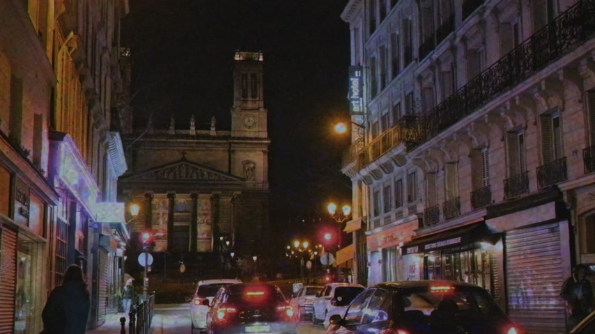 cinematic : Paris, France - Circa 2019: VHS film tape Saint-Vincent de Paul Catholic Church in central Paris 9th arrondissement with perspective view from  Rue dHauteville street at night - black and white