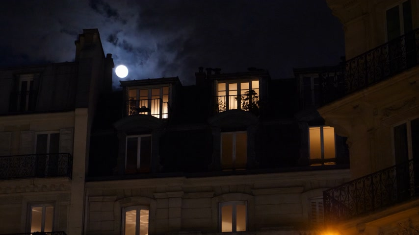 grotesque : Zoom out from Male silhouette inside Parisian Hausmannian building on Champs-Elysees at night with beautiful full-moon 4K UHD footage for film and series Stock Footage