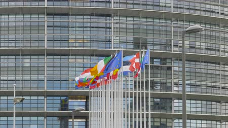 demokratický : Waving flags of all countries members of European Union in front of Parliament building on a clear day - all flags in a row