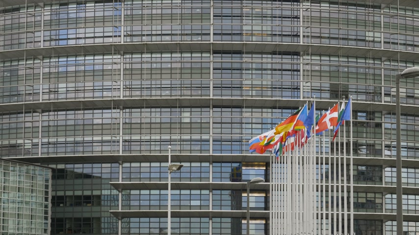 congress : Waving flags of all countries members of European Union in front of Parliament building on a clear day - all flags in a row slow motion cinematic