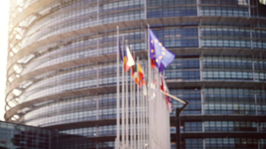 all european flags : Defocused view of European Parliament headquarter in Strasbourg with all European union member flags waving days before Parliamentary elections on 26 may and slow flowing poplar tree white fluff Stock Footage