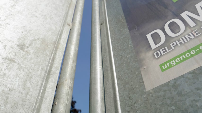 migrants : Strasbourg, France - May 23, 2019: Low angle view posters in green sunny park for 2019 European Parliament election featuring French for Dominique Bourg Stock Footage