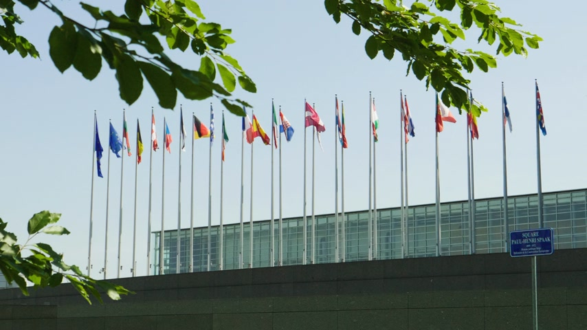 congress : The Member States of the European Union flags European Parliament wee through green poplar trees of headquarter in Strasbourg a day before 2019 European Parliament election Stock Footage