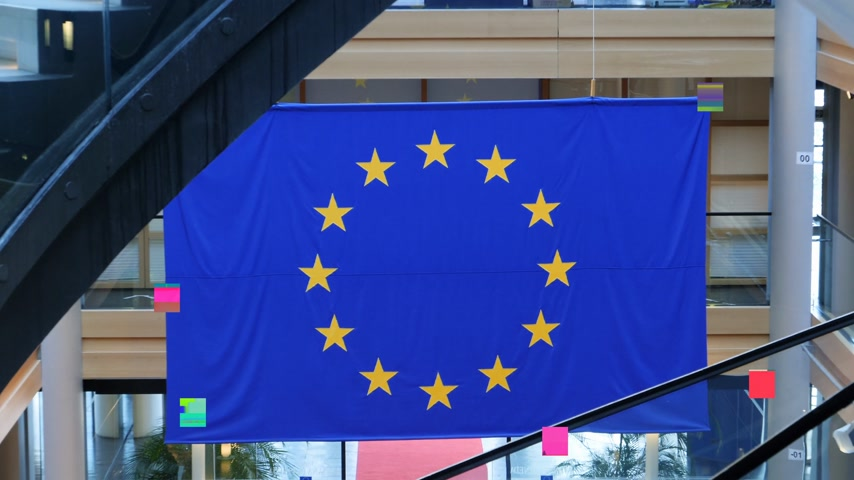 lépcsőfok : Strasbourg, France - Circa 2018: View of European Union blue flag with yellow stars hanged over the red carpet and modern staircase inside European Parliament building in Strasbourg, France - digital glitch bad signal