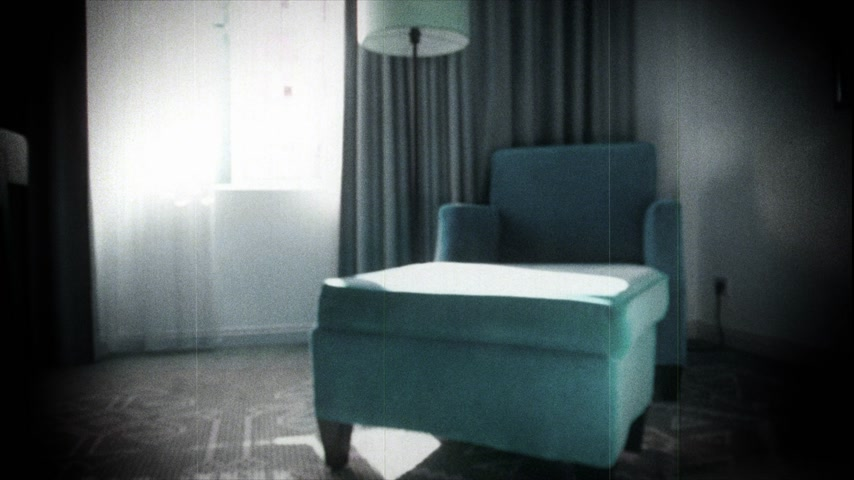 veludo : Slow focusing to cyan luxury velvet covered armchair in 5 star room hotel number with Azerbaijan traditional drawings on the carpet - vhs vintage tape film effect strong vignette
