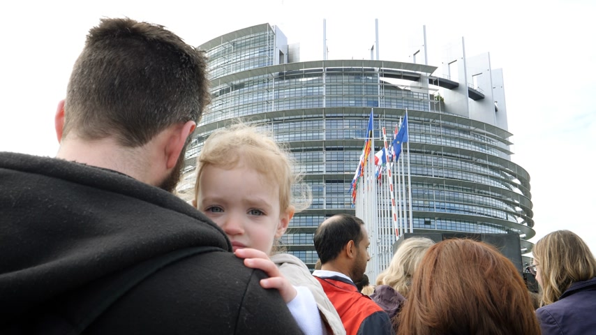 all european flags : Strasbourg, France - Circa 2018: Rear view of father holding young girl waiting in queue at the European Parliament during Open Days for all citizens interested to know how Parliament works