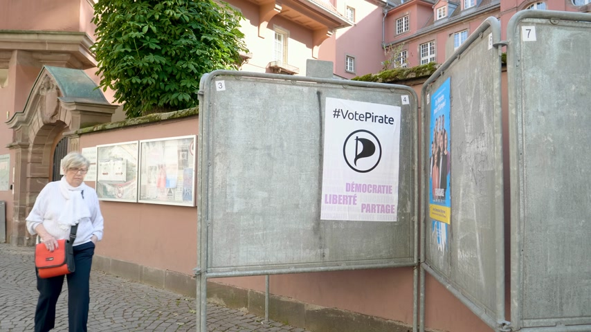 oy : Strasbourg, France - May 27, 2019: French school entrance with all candidates campaign posters to 2019 European Parliament election - people walking to polling station Bureau de vote - Vote Pirate party Stok Video