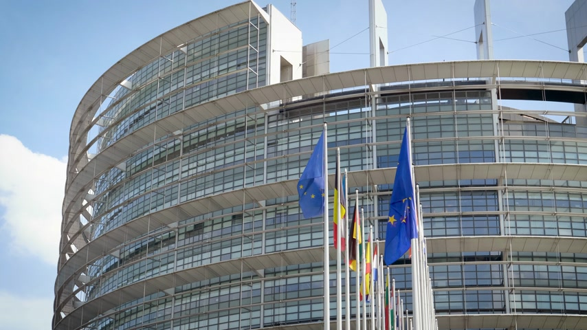společenství : European Parliament headquarter in Strasbourg with all European Union Flags waving in the wind in the Sunday of 2019 European Parliament election - front big EU flags Dostupné videozáznamy