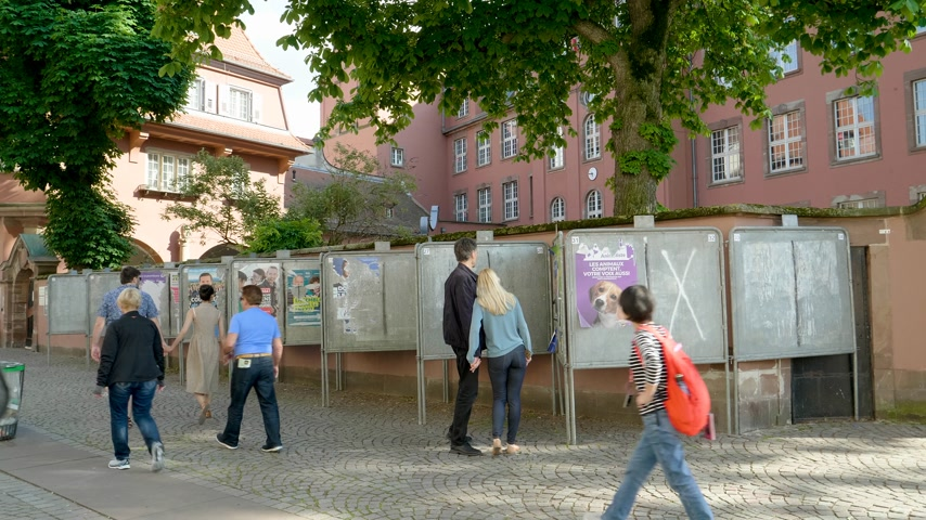 european parliament election : Strasbourg, France - May 27, 2019: French school entrance with all candidates campaign posters to 2019 European Parliament election - young couple holding hands walking to polling station Bureau de vote