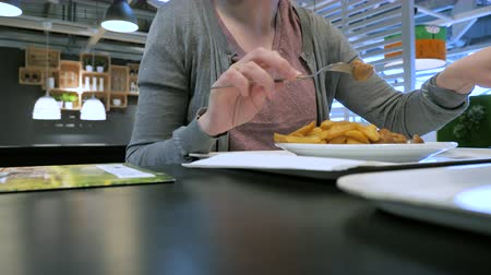 almôndega : Woman man inside food restaurant eating French fries and traditional Swedish meatballs Vídeos