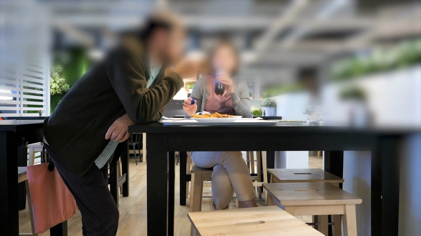 almôndega : Paris, France - Circa 2019: Time lapse fast motion of man and woman eating at the IKEA food restaurant having fun eating French fires and drinking Pepsi Vídeos